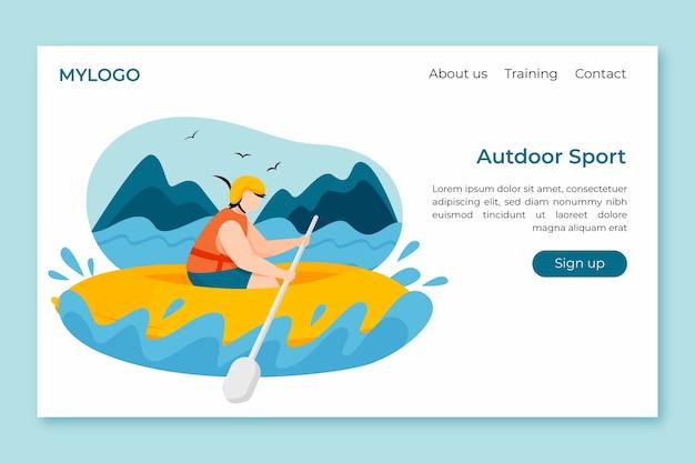 Шаблон дизайна плоской страницы для спорта на открытом воздухе Бесплатные векторы