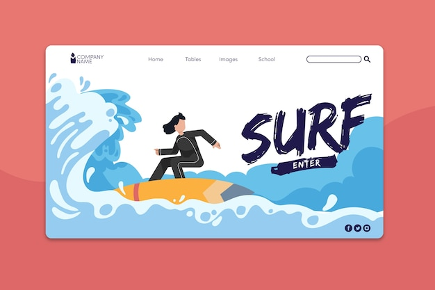 Outdoor sport landing page template Free Vector