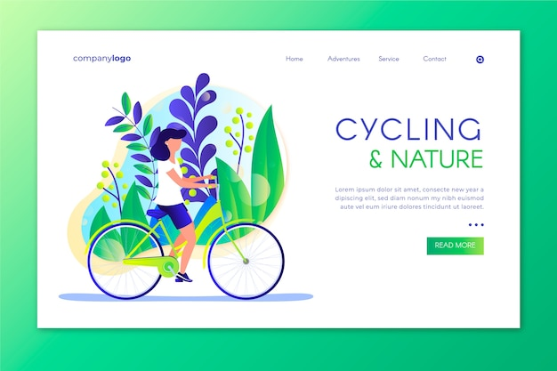Outdoor sport landing page with illustration Free Vector