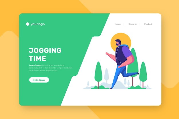 Outdoor sport landing page with man hiking Free Vector