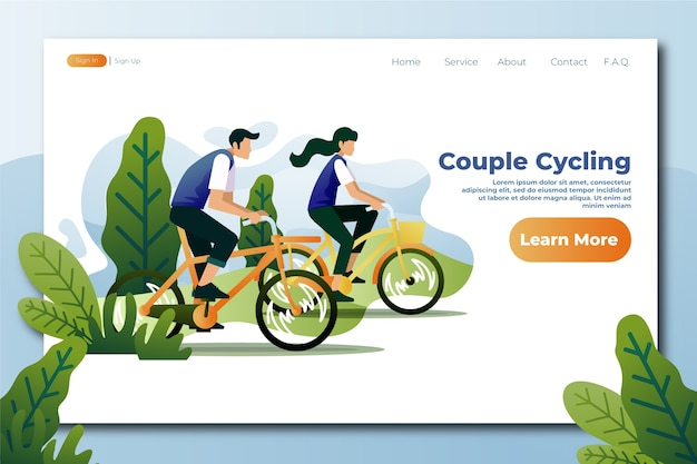 Outdoor sport template  flat design landing page Free Vector