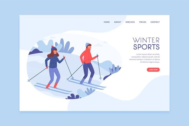 Outdoor sport template landing page flat design Free Vector