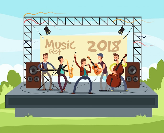 Outdoor summer festival concert with pop music band playing music outdoor on stage vector illustration Premium Vector
