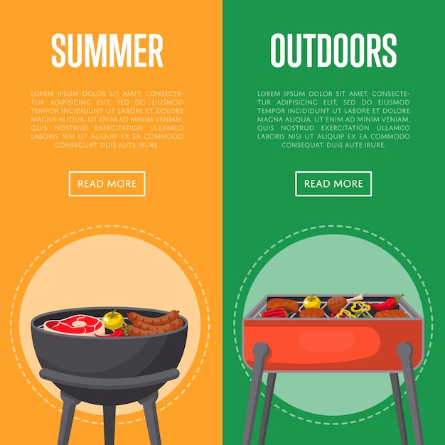 Outdoor summer picnic banners with meats on bbq Premium Vector