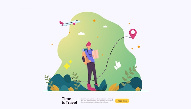 Outdoor summer vacation theme of hiking, climbing and trekking Premium Vector