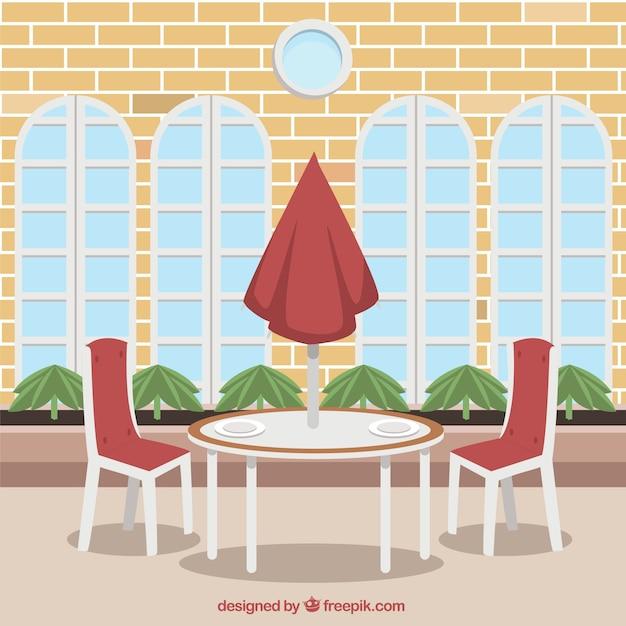 Outdoor Table For Two Restaurant Scene Vector Free Download - Table for two restaurant