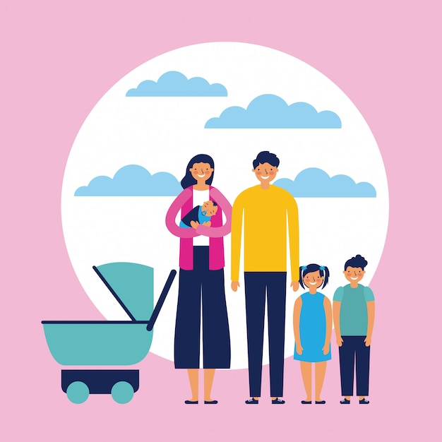 Outdoor together family Free Vector