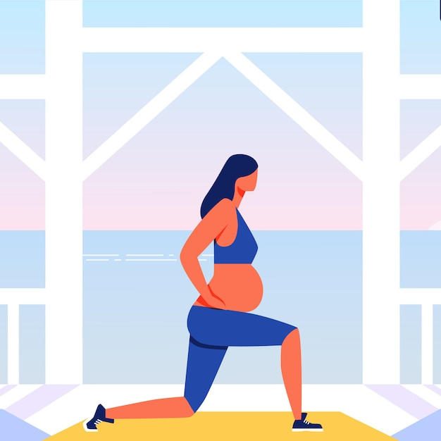 Outdoor training for pregnant on sea background. Premium Vector
