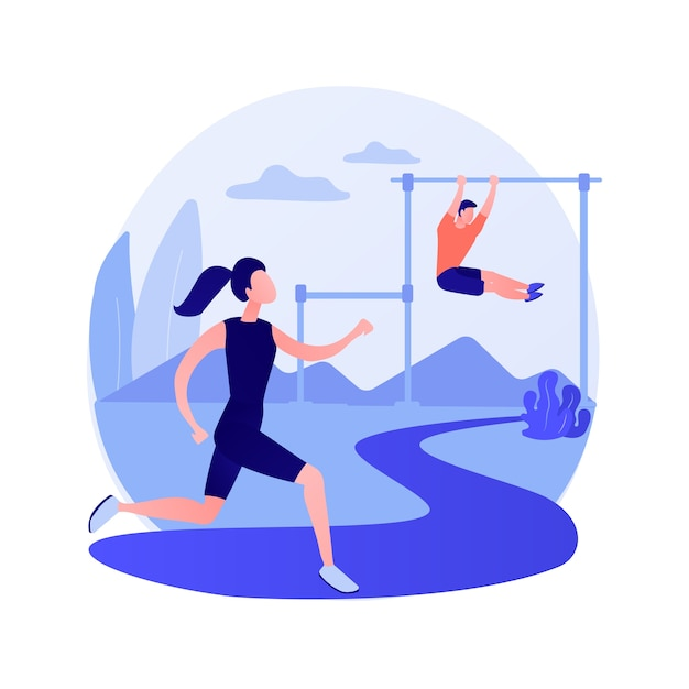 야외 운동 훈련. 건강한 라이프 스타일, 야외 조깅, 피트니스 활동. 공원에서 실행하는 남자 선수. 야외에서 운동하는 근육 스포츠맨. 벡터 격리 된 개념은 유 그림 무료 벡터