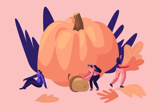 가을철 야외 활동, 행복한 남녀 캐릭터가 시간을 보내며 식물 표본 상자를 위해 떨어진 노란 잎을 줍다 프리미엄 벡터