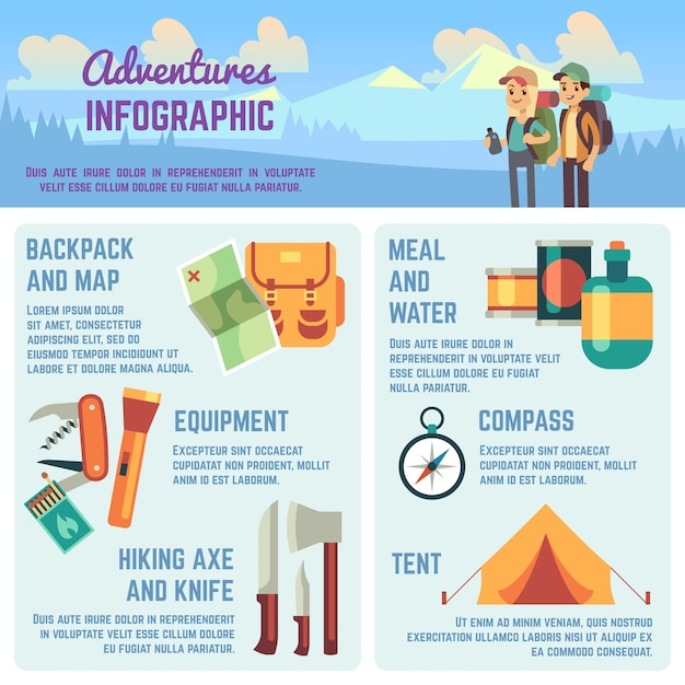 Outdoors adventure vector infographics with hiking and climbing equipment icons, traveling people and charts. Premium Vector