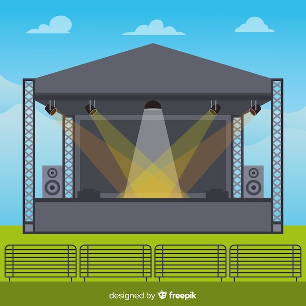 Outdoors stage background with lighting in flat design Free Vector