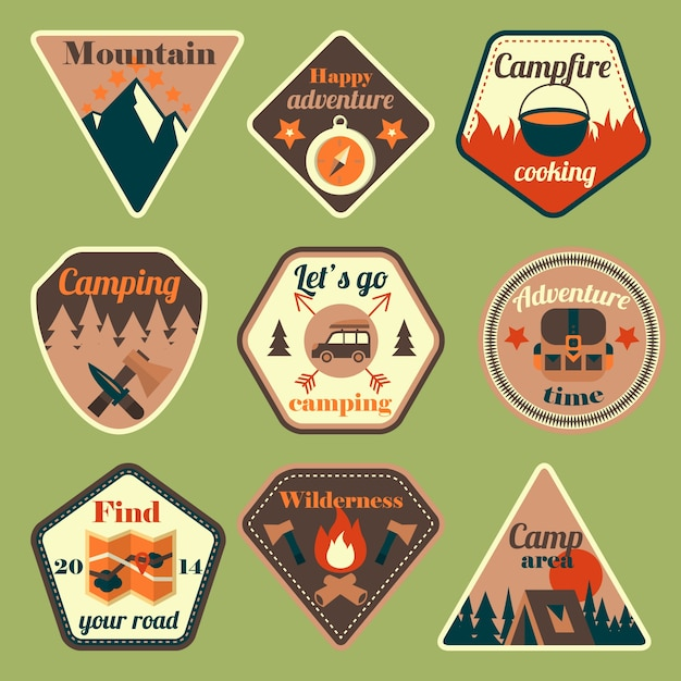Outdoors tourism camping flat badges set of\ compass campfire tent and backpack isolated vector\ illustration