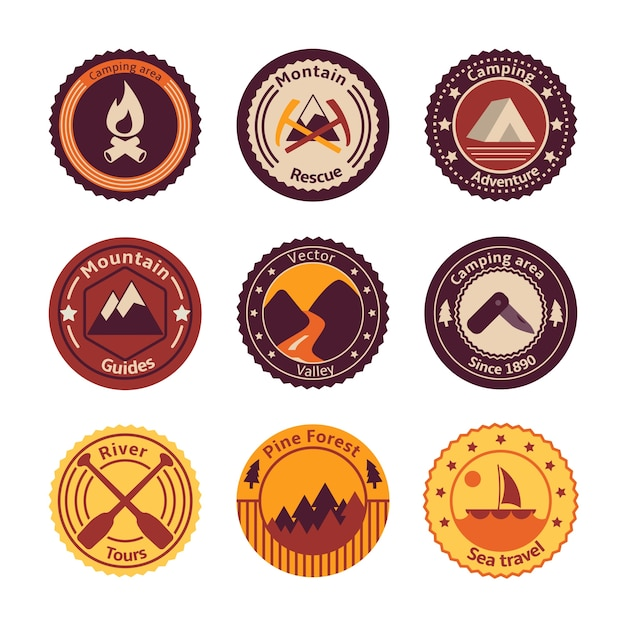 Outdoors tourism camping flat badges set of\ road mountain tree and nature isolated vector illustration