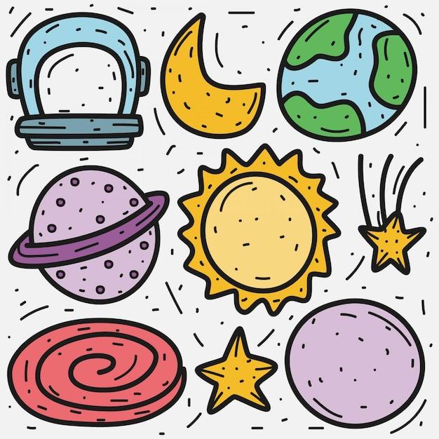 Outer space cartoon doodle  template Premium Vector
