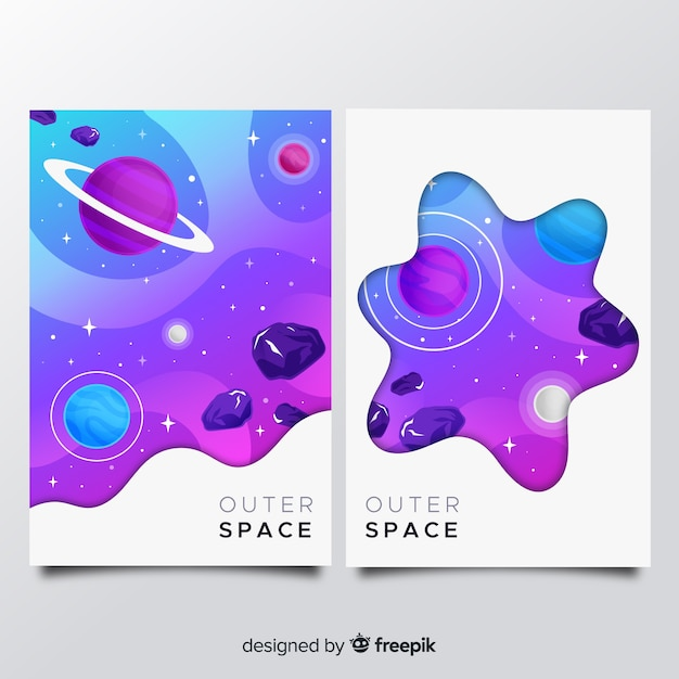 Outer space cover collection Free Vector