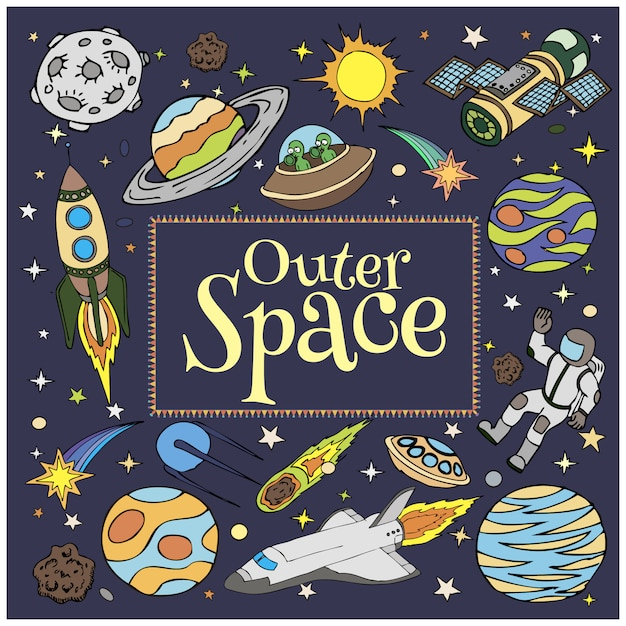 Outer space doodles, spaceships, planets, stars, rocket Premium Vector