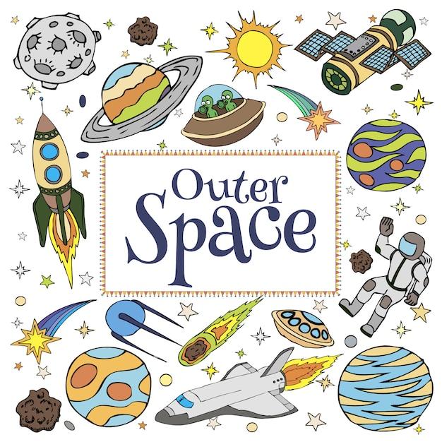 宇宙落書き、シンボル、デザイン要素、宇宙船、惑星、星、ロケット、宇宙飛行士、衛星、彗星。子供の本の表紙の漫画スペースアイコン。手描きイラスト。 Premiumベクター