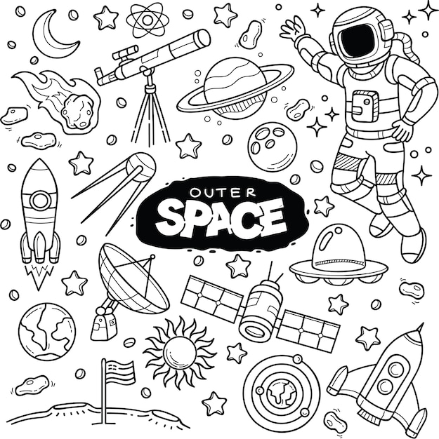 Outer Space Doodles Premium Vector