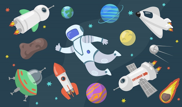 Outer space exploration set Free Vector