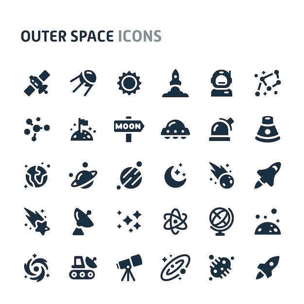 Outer space icon set. fillio black icon series. Premium Vector