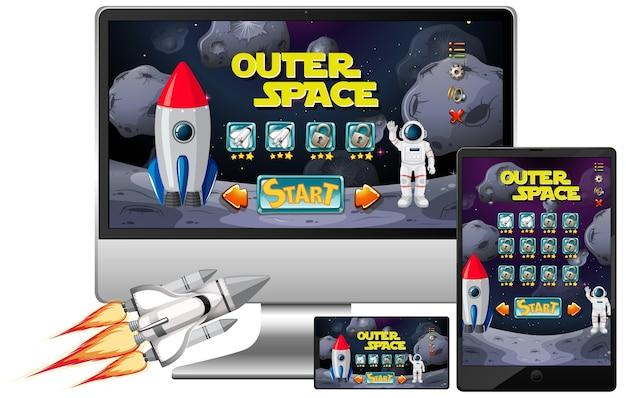 Космическая миссия на разных электронных экранах Бесплатные векторы