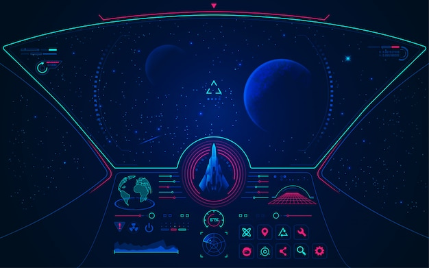 Outer space view from spaceship cockpit with control ...