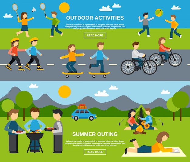 Outing banner set Free Vector