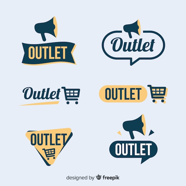 Outlet label collection Free Vector