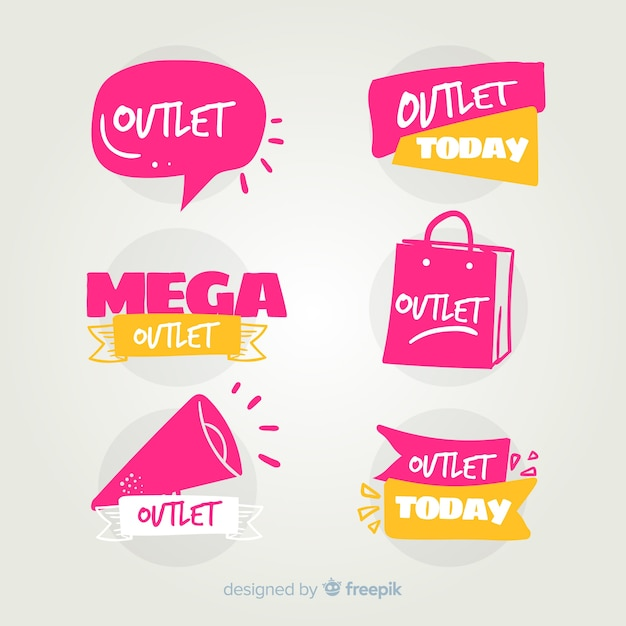 Outlet labels collection Free Vector