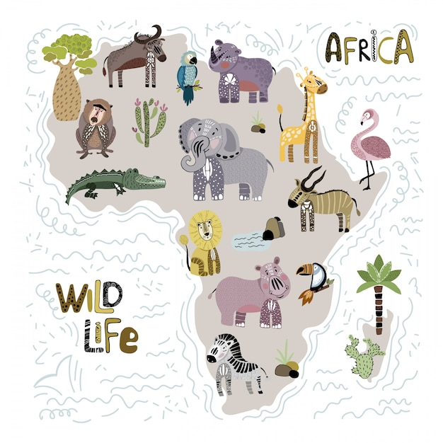 Outline of africa and animals Premium Vector