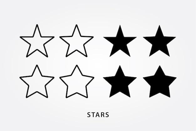 Набор значков и черных звезд Premium векторы