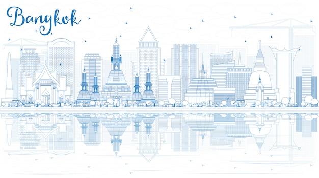 Outline bangkok skyline with blue landmarks and reflections. Premium Vector