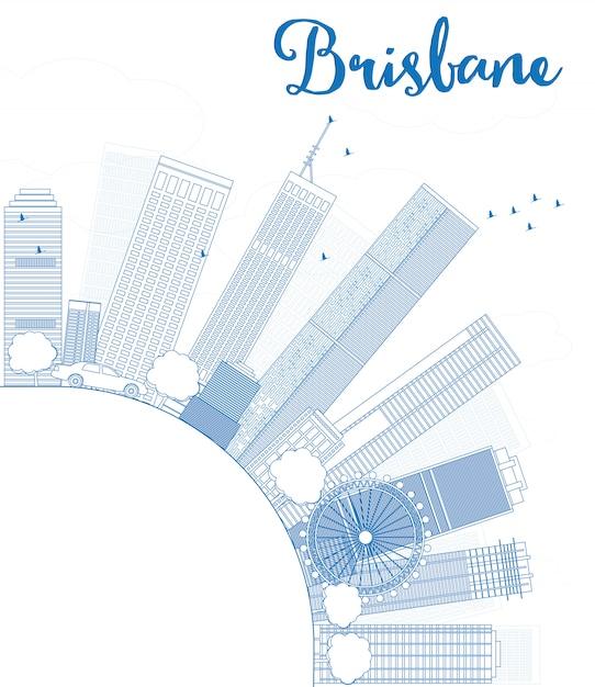 Контур горизонта брисбена с синим зданием и копией пространства Premium векторы