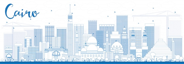 Outline cairo skyline with blue buildings. Premium Vector