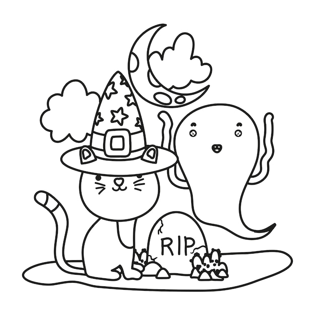 Outline cat with hat and funny ghost with rip Premium Vector