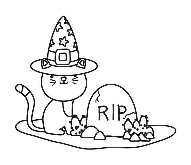 Outline cute cat with hat and rip stone Premium Vector