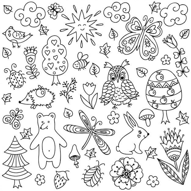 落書き幼稚なスタイル-動物や昆虫、木や植物で装飾的な手描きの要素の概要を説明します。本ページを着色するためのパターン。 Premiumベクター