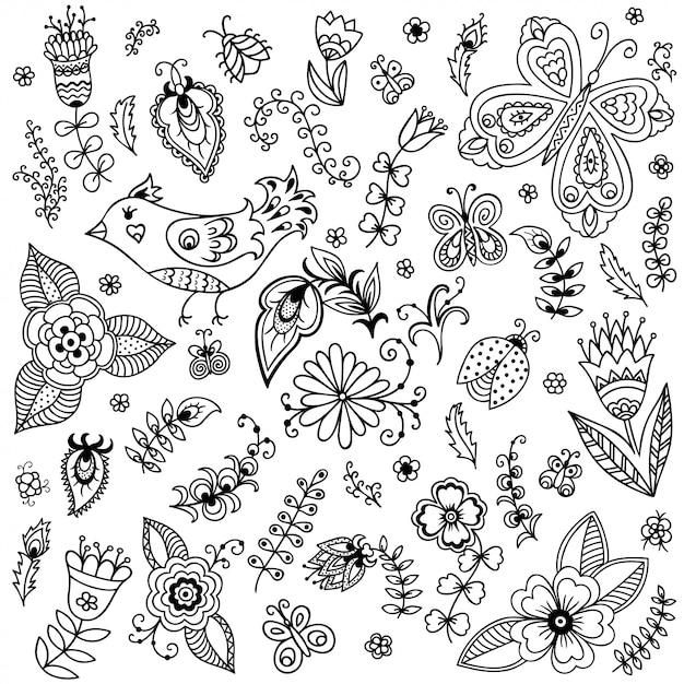 Наброски декоративные рисованной элементы в каракули детски стиле - цветы и растения. шаблон для раскраски страницы книги. Premium векторы