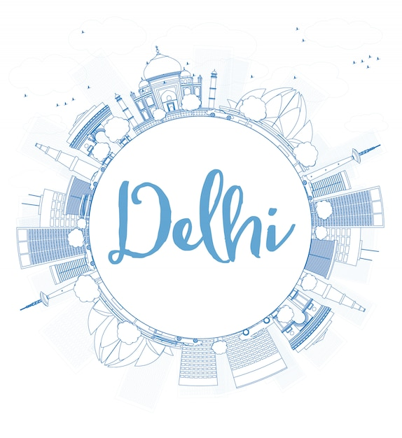 Outline delhi skyline with blue landmarks and copy space. Premium Vector