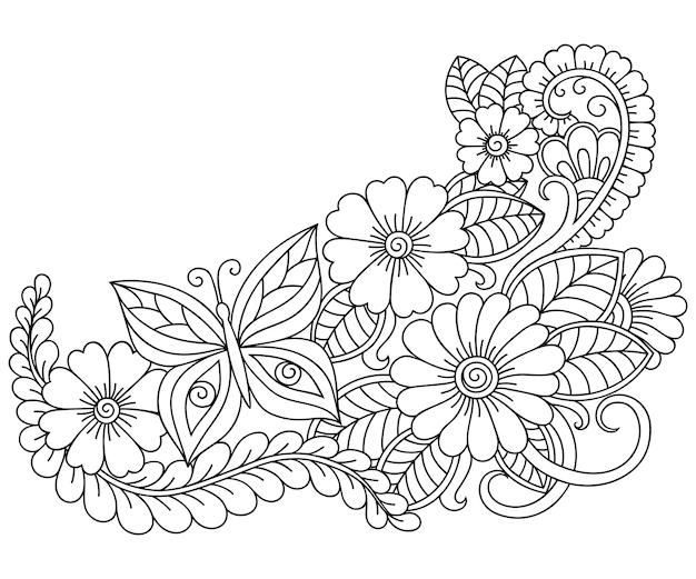 本ページを着色するための一時的な刺青スタイルで花模様を概説します。白と黒の飾りを落書き。手描きイラスト。 Premiumベクター