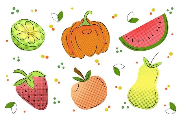 Наброски фруктов и овощей фон с красочными полутонов Бесплатные векторы