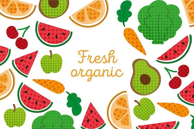Контур фруктов и овощей обои с красочными полутонов Бесплатные векторы