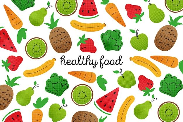 Contorno sfondo di frutta e verdura Vettore gratuito