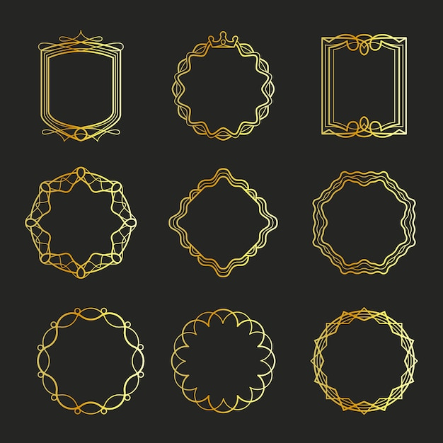 Outline golden emblems and badges frames Premium Vector