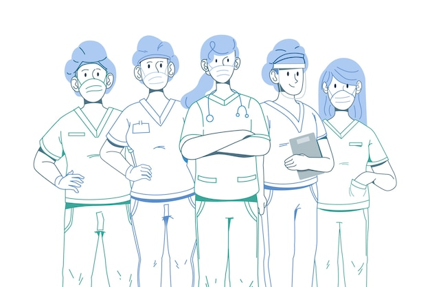 Outline heroes of the medical system Free Vector