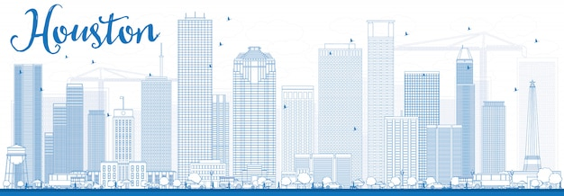 Outline houston skyline with blue buildings. Premium Vector