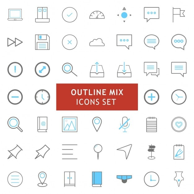 Outline icon set Free Vector