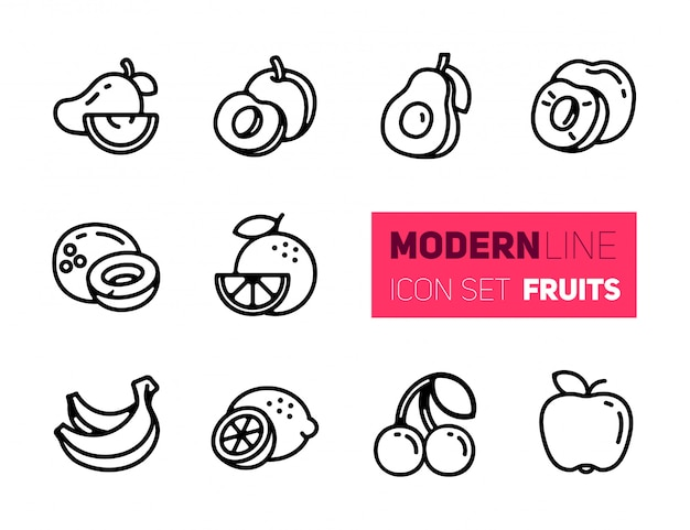 Outline icons set of fruits Premium Vector