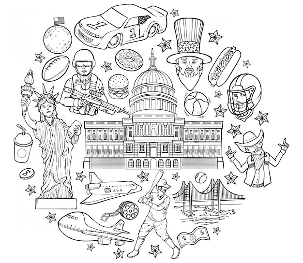 Outline illustration of united states of america Premium Vector